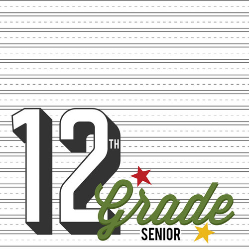 Back To School Collection Twelfth Grade 12 x 12 Double-Sided Scrapbook Paper by Scrapbook Customs