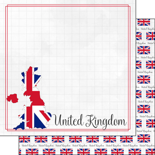 Travel Adventure Collection Great Britain Border 12 x 12 Double-Sided Scrapbook Paper by Scrapbook Customs