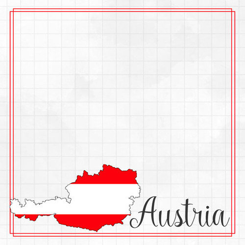 Travel Adventure Collection Austria Border 12 x 12 Double-Sided Scrapbook Paper by Scrapbook Customs