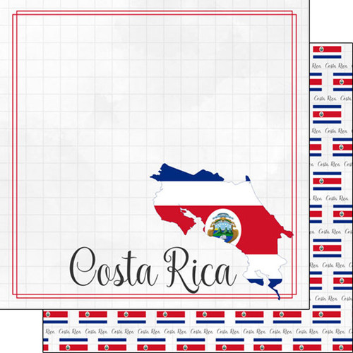 Travel Adventure Collection Costa Rica Border 12 x 12 Double-Sided Scrapbook Paper by Scrapbook Customs