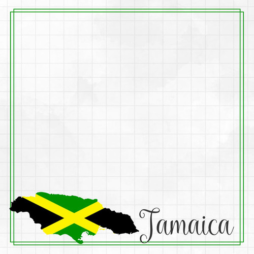 Travel Adventure Collection Jamaica Border 12 x 12 Double-Sided Scrapbook Paper by Scrapbook Customs