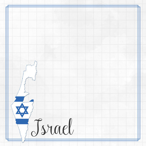 Travel Adventure Collection Israel Border 12 x 12 Double-Sided Scrapbook Paper by Scrapbook Customs
