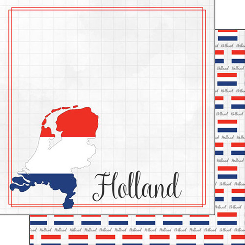 Travel Adventure Collection Holland Border 12 x 12 Double-Sided Scrapbook Paper by Scrapbook Customs
