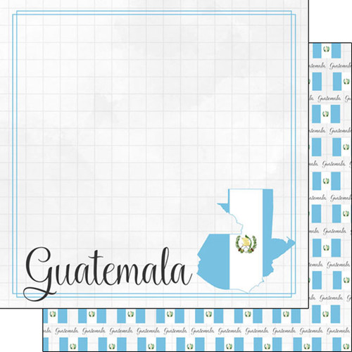 Travel Adventure Collection Guatemala Border 12 x 12 Double-Sided Scrapbook Paper by Scrapbook Customs