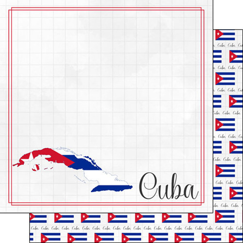 Travel Adventure Collection Cuba Border 12 x 12 Double-Sided Scrapbook Paper by Scrapbook Customs