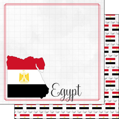 Travel Adventure Collection Egypt Border 12 x 12 Double-Sided Scrapbook Paper by Scrapbook Customs