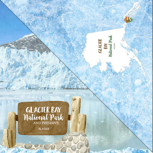 National Park Collection Glacier Bay National Park 12 x 12 Double-Sided Scrapbook Paper by Scrapbook Customs