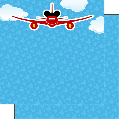 Magical Day of Fun Collection Magical Airplane 12 x 12 Double-Sided Scrapbook Paper by Scrapbook Customs