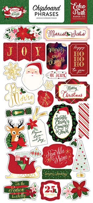 Merry and Bright Collection 6 x 12 Scrapbook Chipboard Phrases by Echo Park Paper