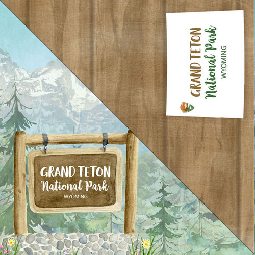 National Park Collection Grand Teton National Park 12 x 12 Double-Sided Scrapbook Paper by Scrapbook Customs
