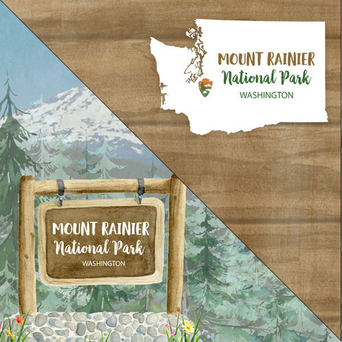 National Park Collection Mount Rainier National Park 12 x 12 Double-Sided Scrapbook Paper by Scrapbook Customs
