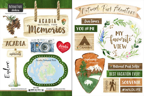 National Park Collection Acadia National Park Scrapbook Double-Sided Sticker Sheet by Scrapbook Customs