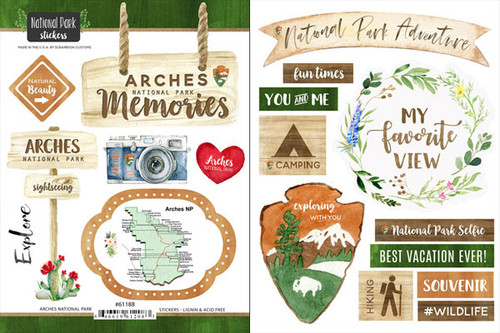 National Park Collection Arches National Park Scrapbook Double-Sided Sticker Sheet by Scrapbook Customs