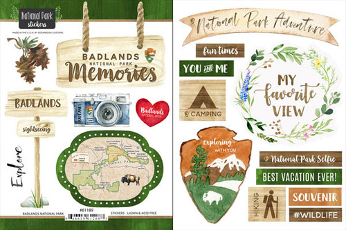 National Park Collection Badlands National Park Scrapbook Double-Sided Sticker Sheet by Scrapbook Customs