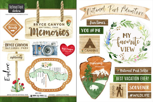 National Park Collection Bryce Canyon National Park Scrapbook Double-Sided Sticker Sheet by Scrapbook Customs