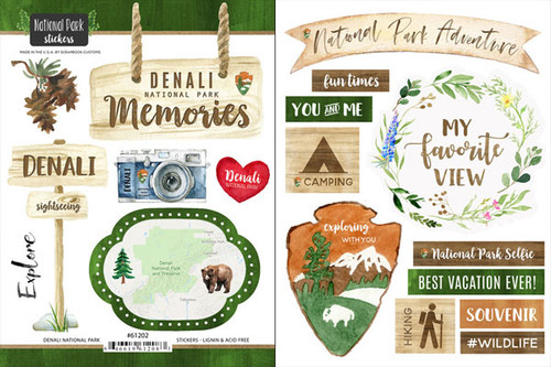 National Park Collection Denali National Park Scrapbook Double-Sided Sticker Sheet by Scrapbook Customs