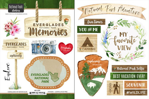 National Park Collection Everglades National Park Scrapbook Double-Sided Sticker Sheet by Scrapbook Customs