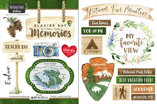 National Park Collection Glacier Bay National Park Scrapbook Double-Sided Sticker Sheet by Scrapbook Customs