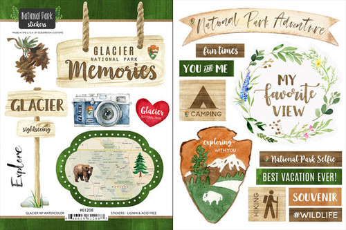 National Park Collection Glacier National Park Scrapbook Double-Sided Sticker Sheet by Scrapbook Customs