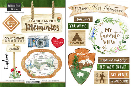 National Park Collection Grand Canyon National Park Scrapbook Double-Sided Sticker Sheet by Scrapbook Customs