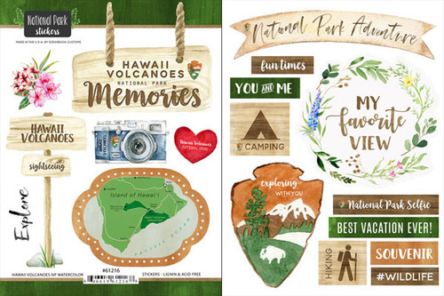National Park Collection Hawaii Volcanoes National Park Scrapbook Double-Sided Sticker Sheet by Scrapbook Customs