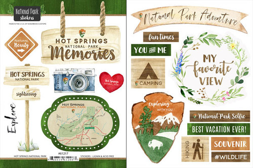 National Park Collection Hot Springs National Park Scrapbook Double-Sided Sticker Sheet by Scrapbook Customs