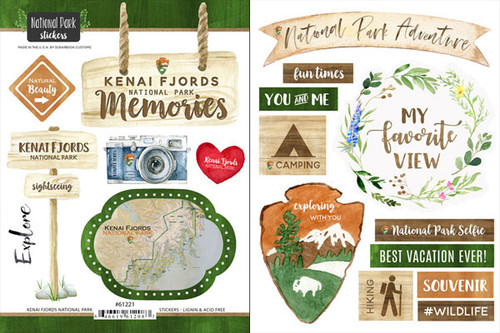 National Park Collection Kenai Fjords National Park Scrapbook Double-Sided Sticker Sheet by Scrapbook Customs