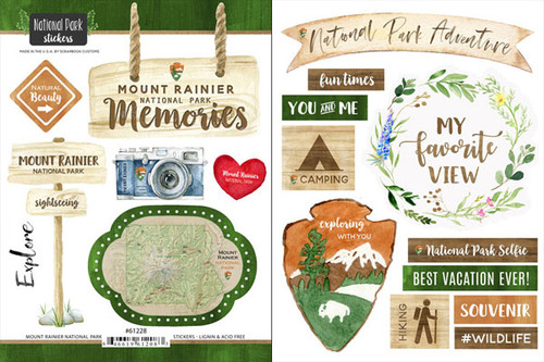 National Park Collection Mount Rainier National Park Scrapbook Double-Sided Sticker Sheet by Scrapbook Customs