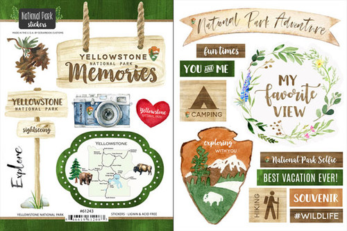 National Park Collection Yellowstone National Park Scrapbook Double-Sided Sticker Sheet by Scrapbook Customs