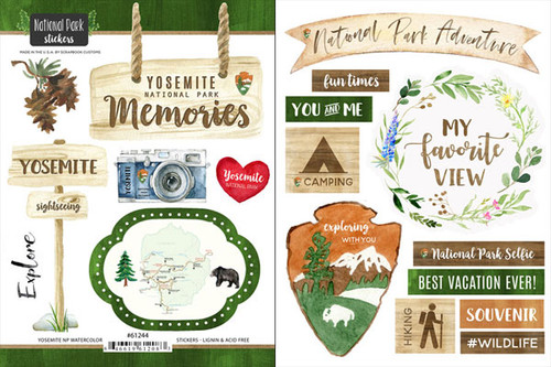 National Park Collection Yosemite National Park Scrapbook Double-Sided Sticker Sheet by Scrapbook Customs
