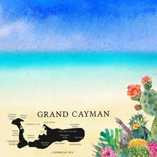 Getaway Collection Grand Cayman 12 x 12 Double-Sided Scrapbook Paper by Scrapbook Customs