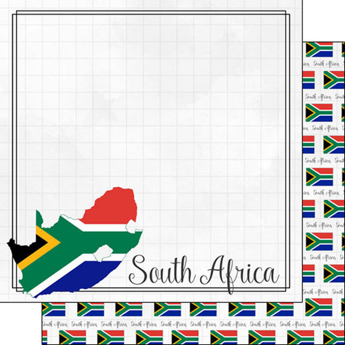Travel Adventure Collection South Africa Border 12 x 12 Double-Sided Scrapbook Paper by Scrapbook Customs