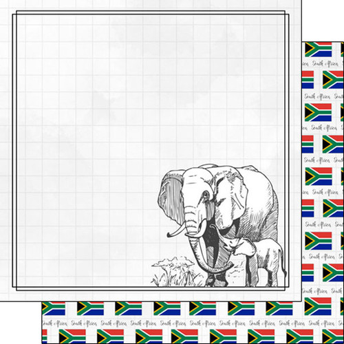 Travel Adventure Collection South Africa Elephant 12 x 12 Double-Sided Scrapbook Paper by Scrapbook Customs