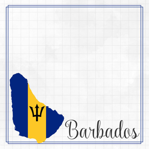 Travel Adventure Collection Barbados Border 12 x 12 Double-Sided Scrapbook Paper by Scrapbook Customs