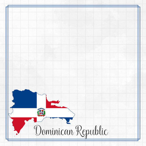 Travel Adventure Collection Dominican Republic Border 12 x 12 Double-Sided Scrapbook Paper by Scrapbook Customs