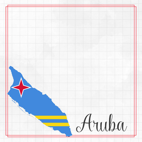 Travel Adventure Collection Aruba Border 12 x 12 Double-Sided Scrapbook Paper by Scrapbook Customs