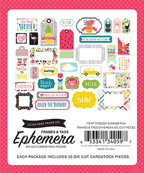 Summer Fun Collection 4 x 5 Ephemera Frames & Tags Die Cut Cardstock Scrapbook Embellishments by Echo Park Paper - 33 Pieces