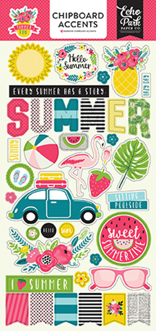 Summer Fun Collection 6 x 12 Chipboard Scrapbook Embellishments by Echo Park Paper