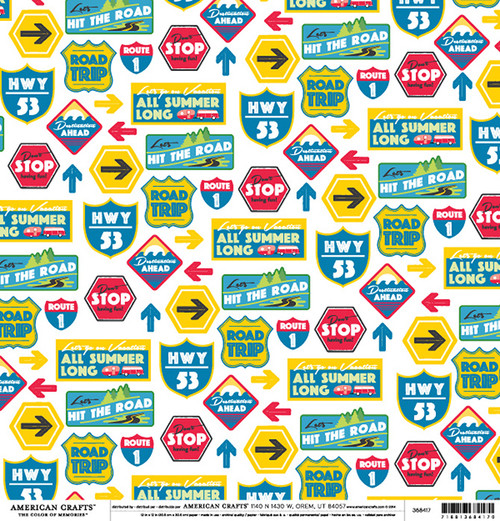 Color of Memories Collection Hit The Road 12 x 12 Double-Sided Scrapbook Paper by American Crafts