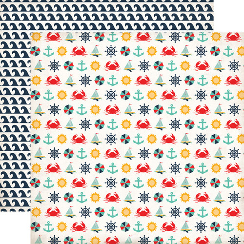 Summer Adventure Collection Beach Icons 12 x 12 Double-Sided Scrapbook Paper by Echo Park Paper