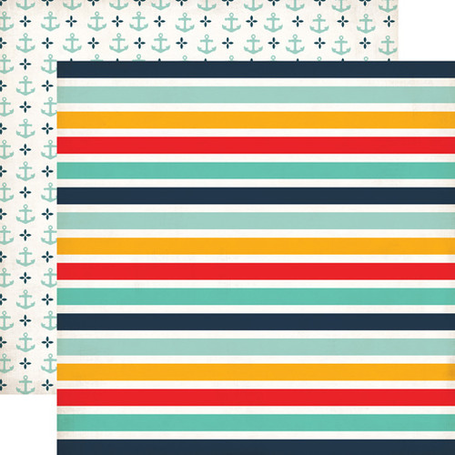 Summer Adventure Collection Beach Stripe 12 x 12 Double-Sided Scrapbook Paper by Echo Park Paper