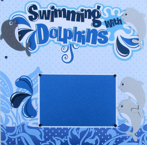 Swimming With Dolphins Premade Embellished Two-Page 12 x 12 Scrapbook Layout by SSC Designs