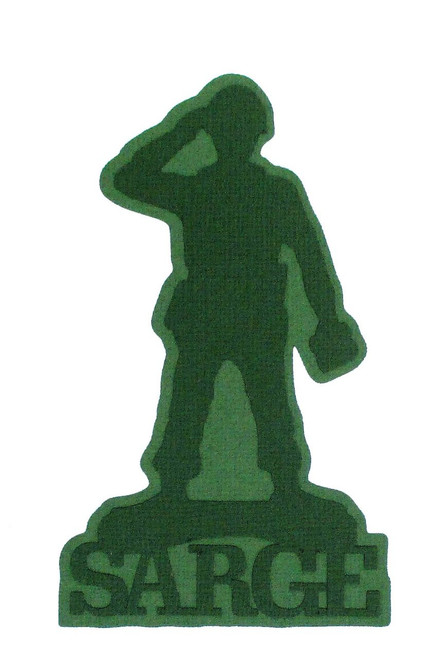Green Army Guy Sarge 3 x 5 Laser Cut Scrapbook Embellishment by SSC Laser Designs