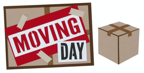 Moving Day 5 x 6 Title & Box Laser Cut Scrapbook Embellishment by SSC Laser Designs