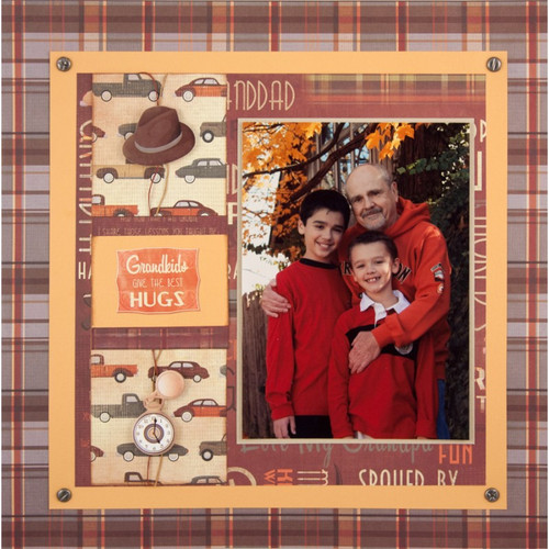 Classic Grandpa Collection Grandpa Plaid 12 x 12 Scrapbook Paper by Karen Foster Design