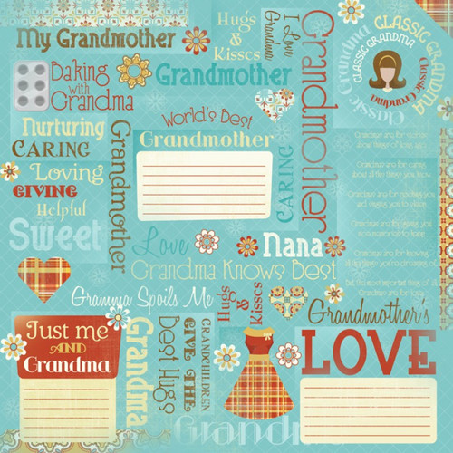 Classic Grandma Collection Grandma Collage 12 x 12 Scrapbook Paper by Karen Foster Design