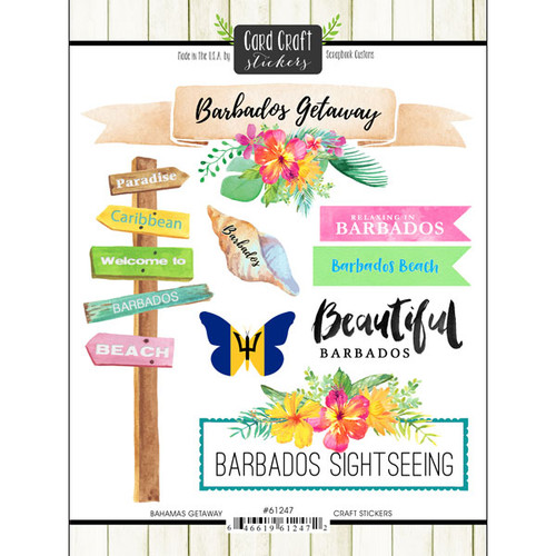 Getaway Collection Barbados 6 x 8 Double-Sided Scrapbook Sticker Sheet by Scrapbook Customs
