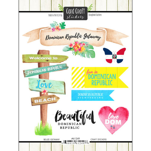 Getaway Collection Dominican Republic 6 x 8 Double-Sided Scrapbook Sticker Sheet by Scrapbook Customs