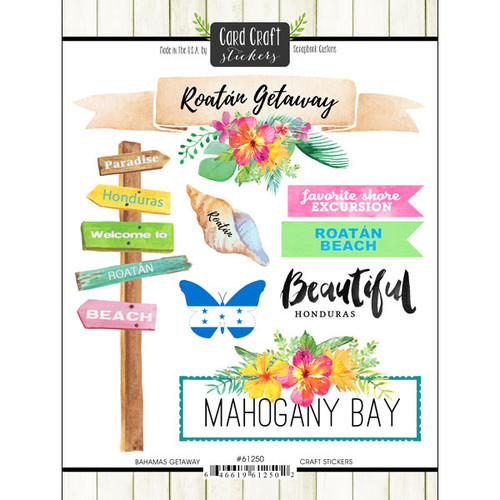Getaway Collection Roatan 6 x 8 Double-Sided Scrapbook Sticker Sheet by Scrapbook Customs
