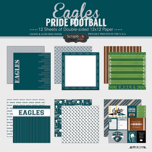 Pride Football Collection Eagles 12 x 12 Scrapbook Page Kit by Scrapbook Customs - 12 Papers